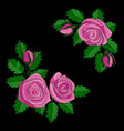 pink rose embroidery composition vector image vector image