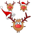 reindeer cartoon set vector image vector image