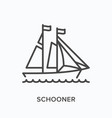 sail ship flat line icon outline vector image vector image