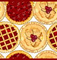 seamless pattern with cherry pies the theme of vector image