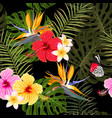 seamless pattern with hibiscus and palm leaves vector image vector image