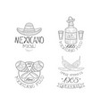 set of sketch style emblems for mexican vector image