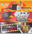 set with bright horizontal banners about singing vector image vector image