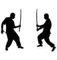 silhouette ninja vector image vector image