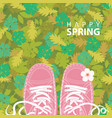 spring banner with inscription and pink shoes vector image vector image