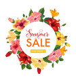 summer sale floral banner seasonal discount vector image vector image