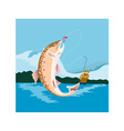 trout fish retro vector image vector image