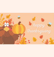 turkey holding pumpkin bees leaves happy vector image