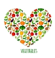Vegetables background with heart vector image