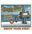Vintage deep sea fishing poster vector image