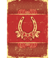 vintage horseshoe on red christmas background vector image vector image