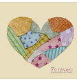 vintage valentines greeting card with heart vector image vector image