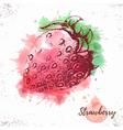 Watercolor strawberry sketch vector image