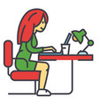 woman working on notebook in office or at home vector image vector image