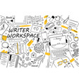 writer workspace doodle set vector image