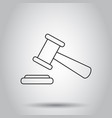 auction hammer icon in line style on isolated vector image
