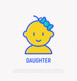 baby girl with bow thin line icon vector image