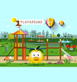 city park with hot air balloons skyline vector image vector image