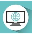 computer device globe network icon vector image vector image