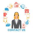 contact us flat set vector image vector image