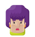 curly purple hair woman flat icon vector image vector image
