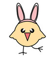 cute little chick with rabbit ears easter vector image vector image