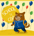 cute little dog in school uniform on the vector image vector image