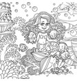 cute little mermaid girl sits on a stone playing vector image vector image
