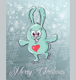 cute rabbit skates christmas background vector image vector image