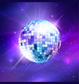 disco ball on ultraviolet outer space background vector image vector image