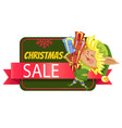 elf with gift boxes and christmas holiday sale vector image vector image