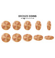 empty 3d bronze copper coins blank set vector image vector image