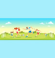 family playing soccer in park together concept vector image vector image