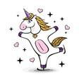 fantasy skating unicorn cartoon style vector image vector image