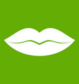 female lips icon green vector image vector image