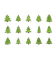 fir tree icons set green christmas conifer spruce vector image