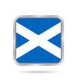 flag of scotland metallic gray square button vector image