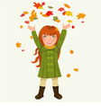 girl and autumnal leaves vector image