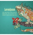 Hand drawn card with iguana vector image
