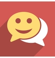 Happy Chat Flat Long Shadow Square Icon vector image vector image