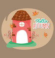 hello autumn season mill cartoon vector image