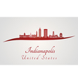 Indianapolis skyline in red vector image vector image
