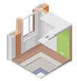Isometric apartment cutaway icon