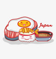 japanese gastronomy cute kawaii cartoons vector image vector image