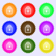 Lock icon sign A set of nine different colored vector image vector image