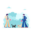 male and female characters walking with dogs vector image