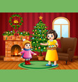 mother and little girl want to decorate a christma vector image