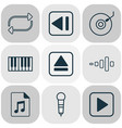 multimedia icons set with synthesizer dj disc vector image vector image