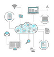 network cloud service linear style infographics vector image vector image