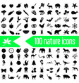 one hundred nature theme icons set eps10 vector image vector image